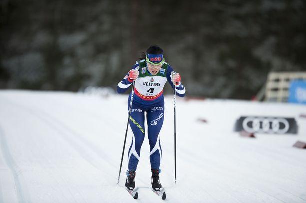 Krista Pärmäkoski sai keltaisen kortin varaslähdöstä lauantaina Rukalla.