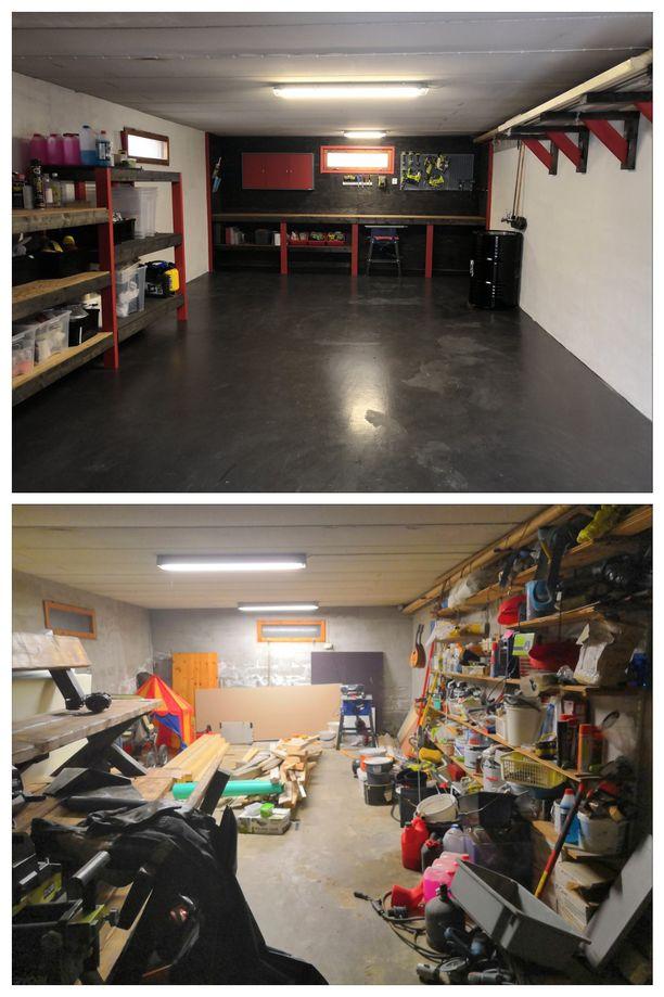 Kuvat autotallista ennen ja jälkeen. Kuten huomaa, muutos on iso. Aiemmin autotallissa oli kosteuden vaurioittamat seinät ja valtava kaaos.