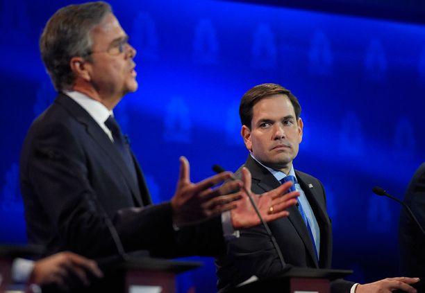 HÄVIÄJÄ JA VOITTAJA Jeb Bush (vas.) on kenties menettänyt mahdollisuutensa, mutta Marco Rubio oli väittelyssä dynaaminen.