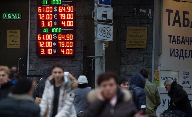 Ruplan kurssi on vahvistunut. Kuva eiliseltä Moskovasta.