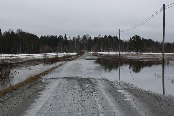 Laukaan Lievestuoreella vesi nousi Puhakantielle.