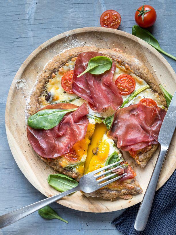 Viimeistele aamiaispizza kananmunalla.