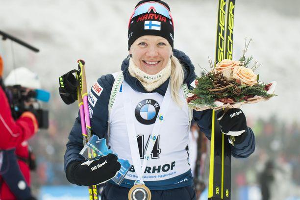 Kaisa Mäkäräinen voitti sunnuntaina maailmancupin osakilpailun Oberhofissa.