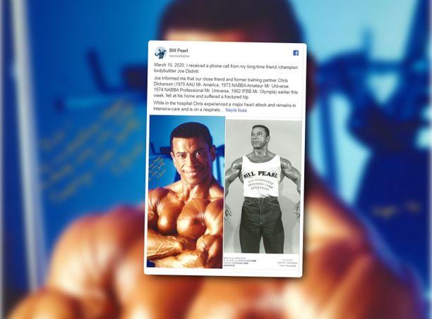 Bill Pearl jakoi Facebookissa päivityksen Chris Dickersonin sydänkohtauksesta.
