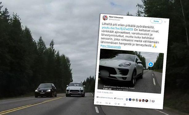 Hyytävä video paljastaa, kuinka likeltä Porsche pyyhkäisee.