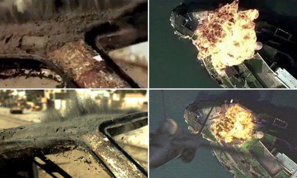 Vasemmalla ylhäällä ruutukaappaus kiinalaisvideosta, alla alkuperäinen The Hurt Locker-elokuvasta. Oikeanpuoleisissa kuvissa sama asetelma The Rock-elokuvasta.