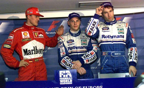 Michael Schumacher, Jacques Villeneuve ja Heinz-Harald Frentzen ajoivat vuoden 1997 Euroopan GP:n aika-ajossa täsmälleen saman ajan.