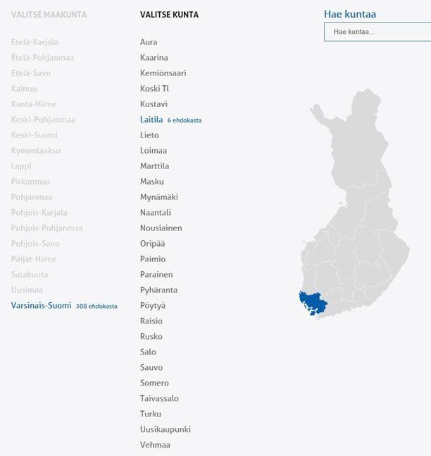 Perussuomalaisten listalla on Laitilassa kuusi ehdokasta.