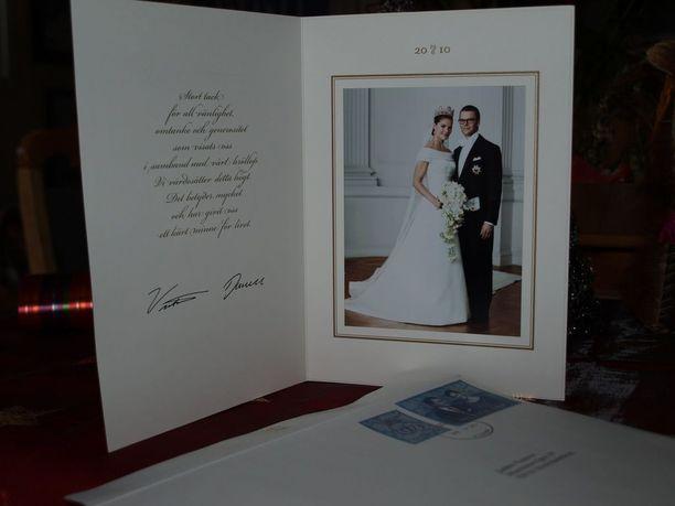 Tällaisen kiitoskortin Jaakko sai Ruotsin kuninkaallisilta.