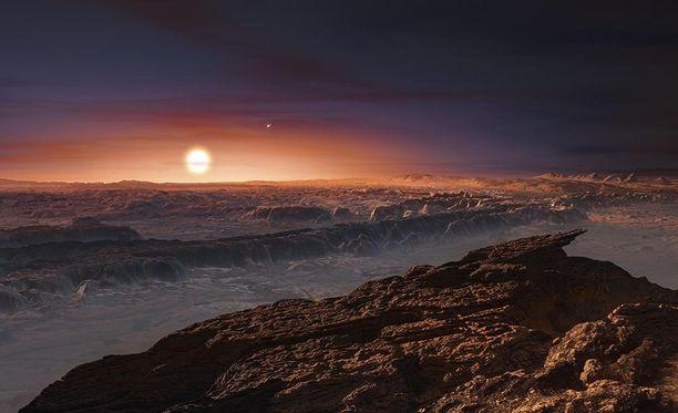 Taitelijan näkemys Keplar 186f-planeetasta, joka on noin maan kokoinen ja kiertää aurinkoaan niin kutsutulla elämänvyöhykkeellä, jolla saattaisi olla oikeanlaiset olosuhteet elämälle.