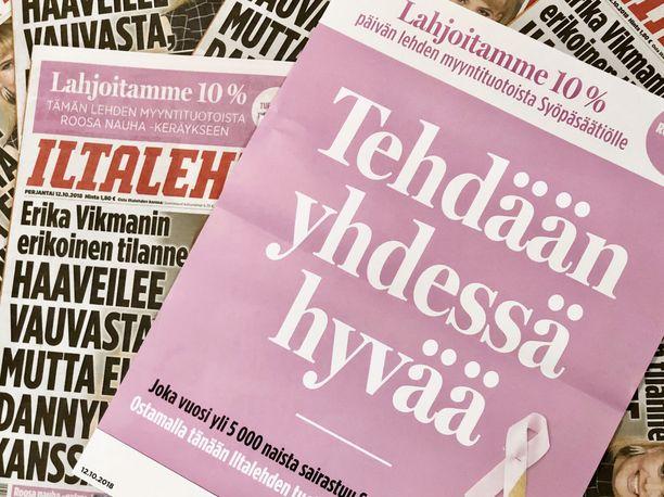 Iltalehden lööppi on perjantaina vaaleanpunainen.