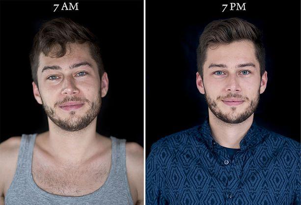 Vasemmalla olevat kuvat on otettu seitsemältä aamulla, oikealla olevat seitsemältä illalla.