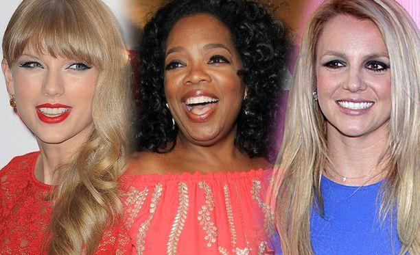 Oprah Winfrey (keskellä) on edelleen Hollywoodin tulokuningatar. Perintöprinsessat Taylor Swift ja Britney Spears tulevat kaukana perässä.