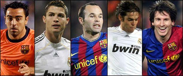 Xavi, Ronaldo, Iniesta, Kaka ja Messi ovat ehdolla vuoden parhaaksi pelaajaksi.