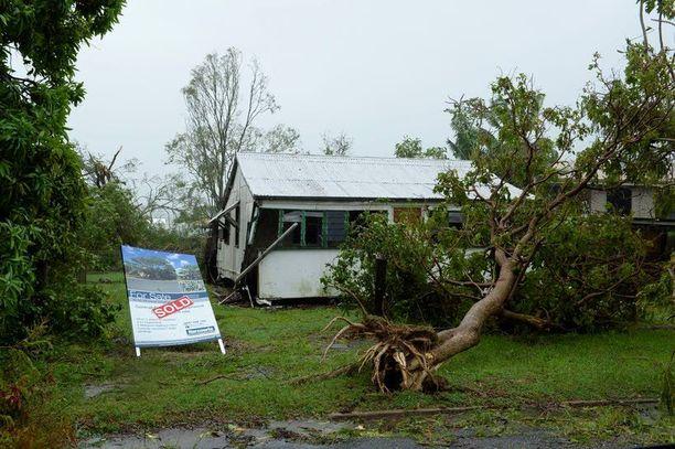 Marcia-sykloni kaatoi puita ja katkaisi sähköjä Queenslandin Yeppoonissa, Australiassa.