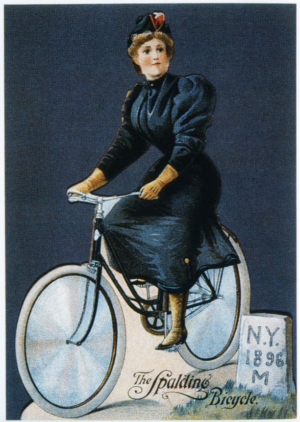 Spalding Bicycle Company -pyörävalmistajan kortti vuodelta 1896.