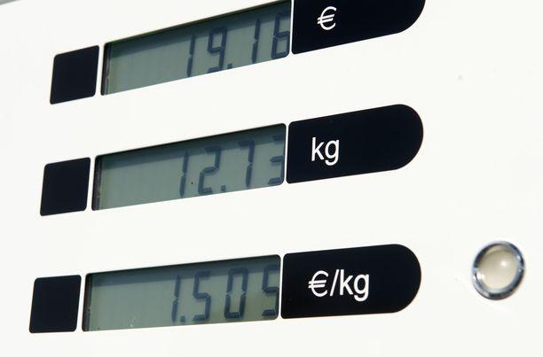 Kaasun hinnat ilmoitetaan kilohintoina tankkauspaikoilla, vaikka mainospylooneissa ne on muunnettu bensiinin hintaan vertailtaviksi litrahinnoiksi