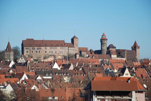 Nürnbergin linna on rakennettu kukkulalle.