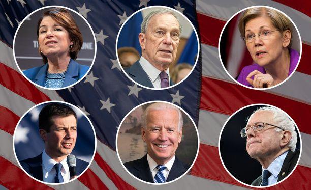 Kuvassa demokraattien kuusi kärkikandidaattia puolueen presidenttiehdokkaaksi. Ylärivissä Amy Klobuchar, Michael Bloomberg ja Elizabeth Warren. Alarivissä Pete Buttigieg, Joe Biden ja Bernie Sanders.