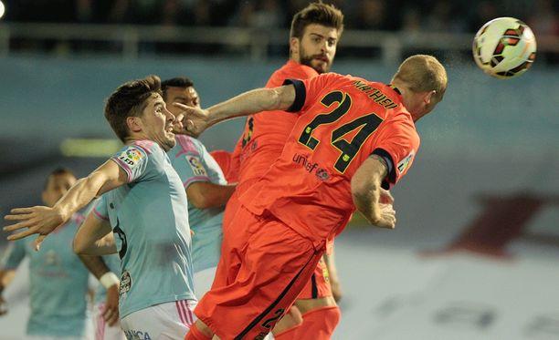 Jérémy Mathieu rokotti kaksi viikkoa sitten päämaalilla Real Madridia, eilen Celtaa.