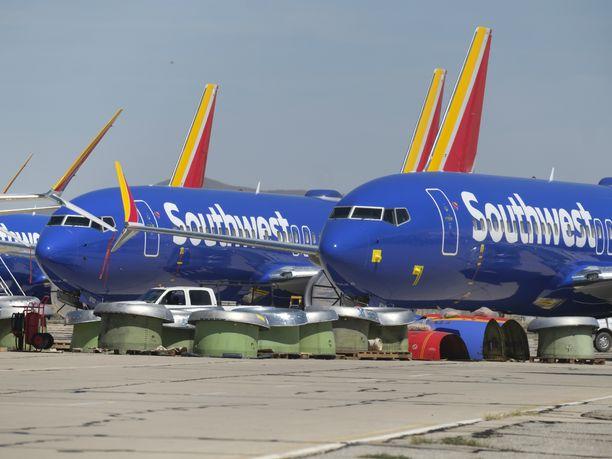 Boeing 737 Max -koneita säilytetään lentokiellon ajan muun muassa Kaliforniassa Yhdysvalloissa.