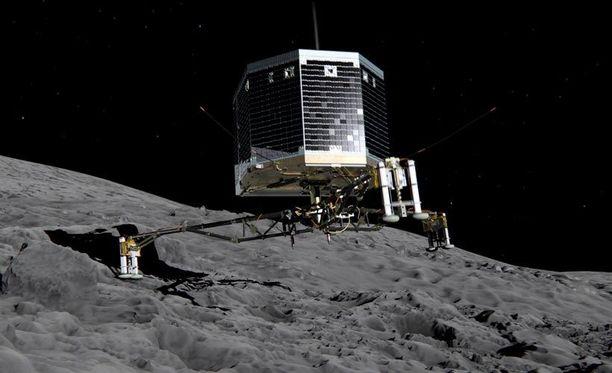 Havainnekuvassa näytetään, miten Philae kiinnittyy komeetan pintaan.