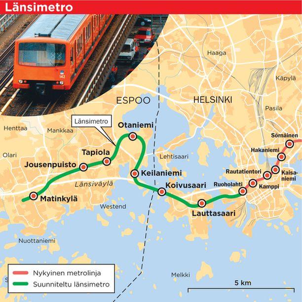 Metrojunan pitäisi liikkua viiden vuoden päästä tällä radalla. Tapiolan ja Matinkylän välille suunniteltu Jousenpuiston asema tulisi kävelymatkan päähän Espoon Areenasta ja Tapiolan urheilupuistosta.