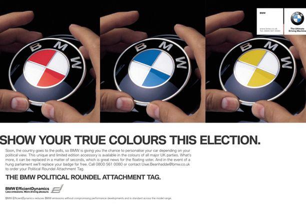 BMW:n tämänvuotinen aprillimainos kehottaa kuljettajia tunnustamaan puolueensa väriä.