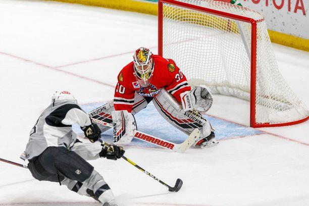 Kevin Lankinen on pelannut Rockford IceHogsissa neljä AHL-ottelua torjuntaprosentilla 88,9 ja päästettyjen maalien keskiarvolla 2,69.