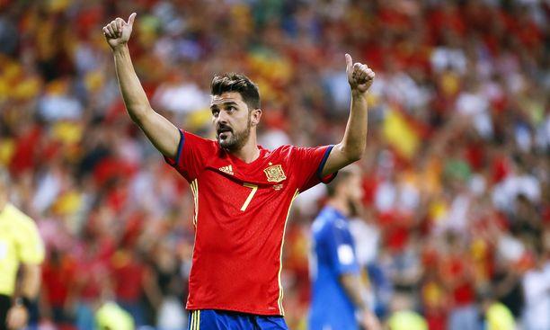 David Villa pääsi vielä kerran pelaamaan Espanjan maajoukkuepaidassa vuonna 2017.