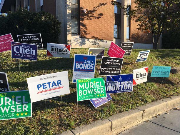 Tältä ehdokkaiden mainoskyltit näyttävät.