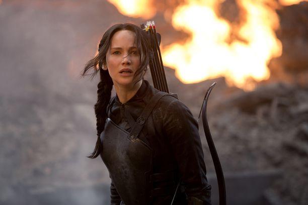Jennifer Lawrence näyttelee Nälkäpeli-kirjoihin perustuvissa elokuvissa Katniss Everdeeniä.
