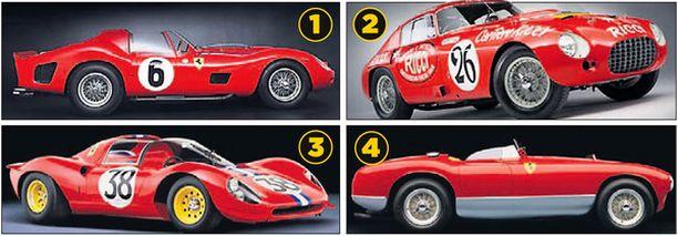 LEGENDAT. 1. Ferrari 330 TRI/LM Testa Rossa 1962. 2. Ferrari 340/375 MM Berlinetta Competizione 1953. 3. Ferrari Dino 206 SP 1966. 4. Ferrari 340 MM Competition Spyder 1953.