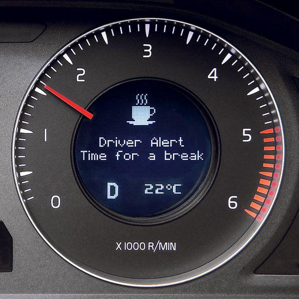HEREILLÄ. Kun vireysmittarin pohjataso on saavutettu, auto hälyttää äänimerkein ja ehdottaa kahvitaukoa.