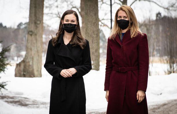 Pääministeri Sanna Marin ja Viron pääministeri Kaja Kallas tapasivat Helsingissä helmikuussa.