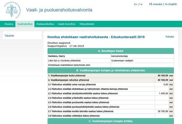 Hjallis Harkimon vaalirahoitusilmoitus on jätetty maanantaina. Harkimo on Liike Nytin ainoa kansanedustaja.