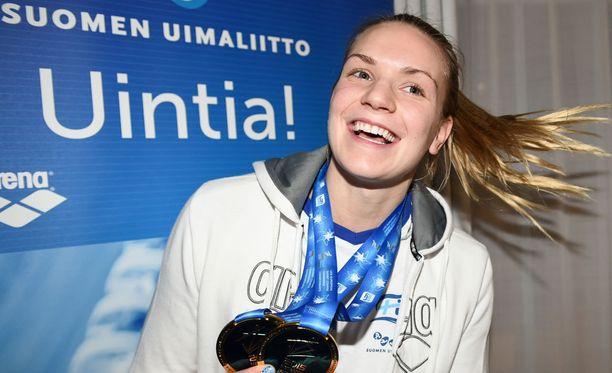 Jenna Laukkanen voitti viime vuonna kaksi lyhyen radan EM-kultaa.