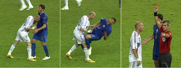 Zinedine Zidane puski Marco Materazzia viime vuoden MM-finaalissa.