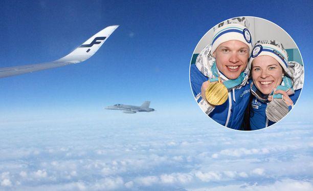Olympiamitalisteja kuljettavan kone sai Suomen ilmatilassa rinnalleen F-18-hävittäjän.