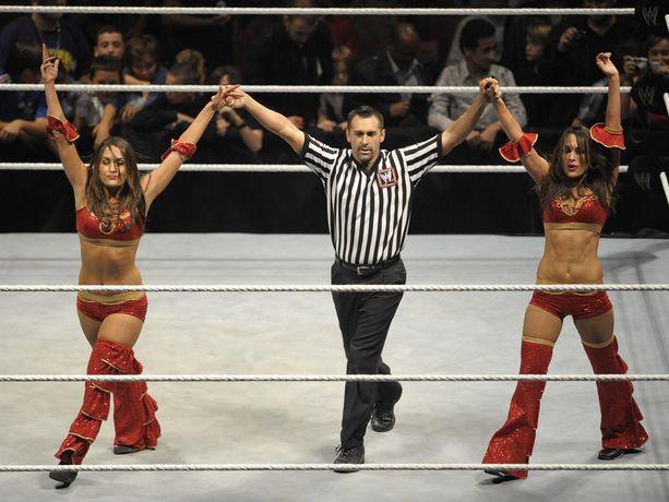 Brie Bella ja Nikki Bella ovat molemmat showpainilegendoja. Nyt uransa jo lopettaneet kaksoset ovat molemmat raskaana. Kuva vuodelta 2010.