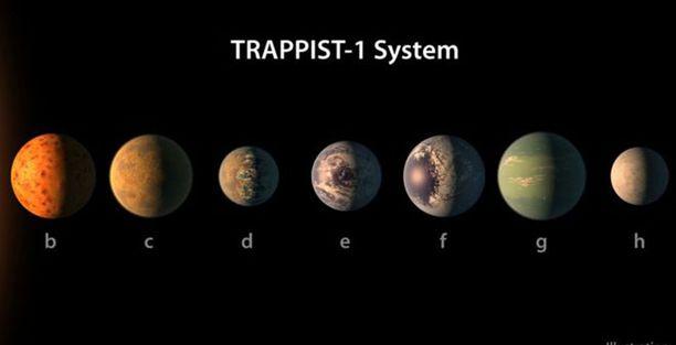 Löytyneet seitsemän planeettaa ovat suunnilleen Maan kokoisia.
