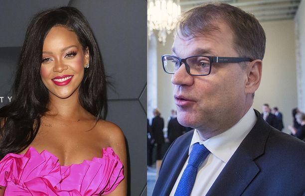 Pääministeri Juha Sipilä sai tviitin poppari Rihannalta.