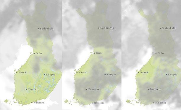 Pilvisyystilanne kello 9, kello 12 ja kello 15.