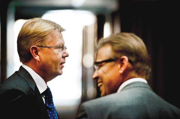 Työmarkkinajärjestöt sopivat eläkeuudistuksesta viime syyskuussa. Kuvassa SAK:n Lauri Lyly ja EK:n Jyri Häkämies.