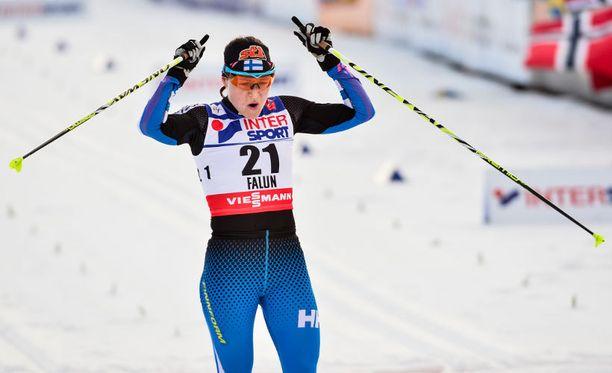 Aino-Kaisa Saarinen oli seitsemäs lauantaina Falunissa.