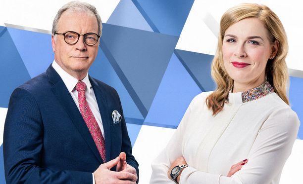 Matti Rönkä ja Piia Pasanen vetävät TV1:n vaalilähetystä.
