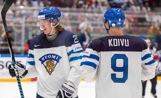 Patrik Laine ja Mikko Koivu edustivat Leijonia Venäjän MM-kisoissa 2016.