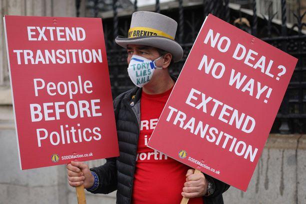 Tämä mielenosoittaja olisi halunnut Britannian hallituksen anovan lisäaikaa Brexit-neuvotteluille.