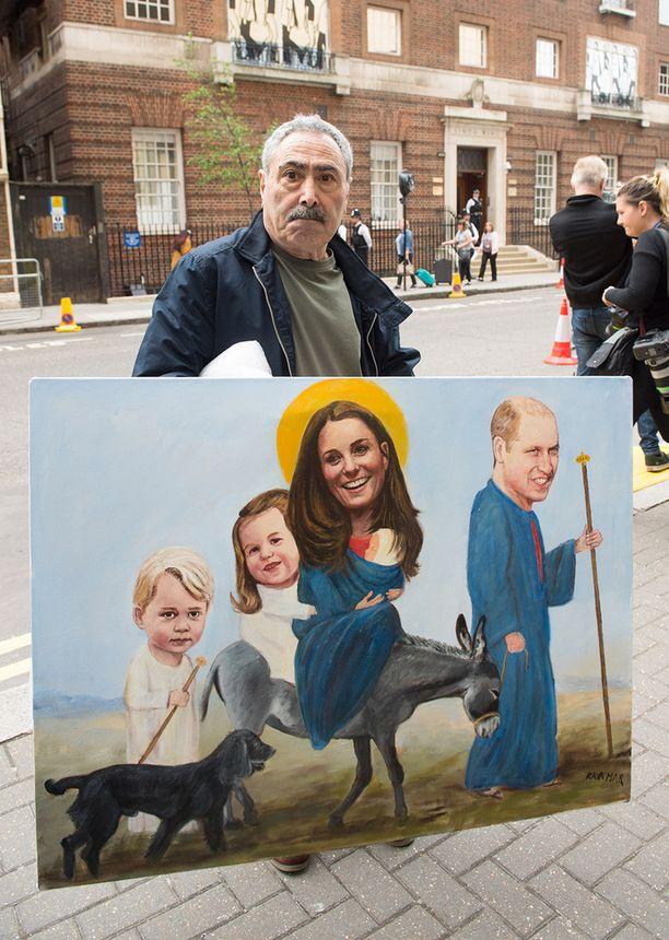 Taitelijan näkemys kuninkaallisen perheen vauvauutisesta.