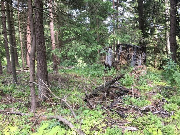 Metsän keskellä nouseva seinä on vielä jäljellä käytöstä poistetusta junanvaunusta, jota käytettiin asuntona. Siellä majaillut nainen teki itsemurhan heittäytymällä junan alle Kauklahden asemalla.